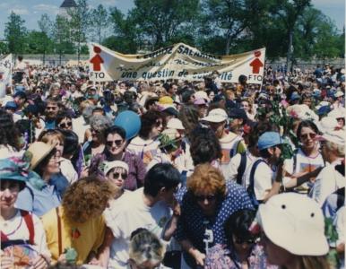 Marche des femmes contre la pauvreté en juin 1995 (rassemblement à Québec) | Photos : Didier Debusschere