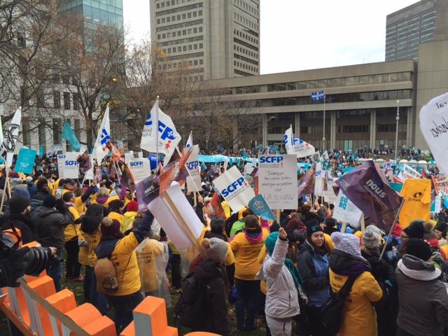 Manifestation du Front commun à Québec le 12 novembre 2015