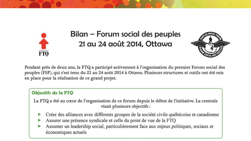 Bilan Forum social des peuples, 2014