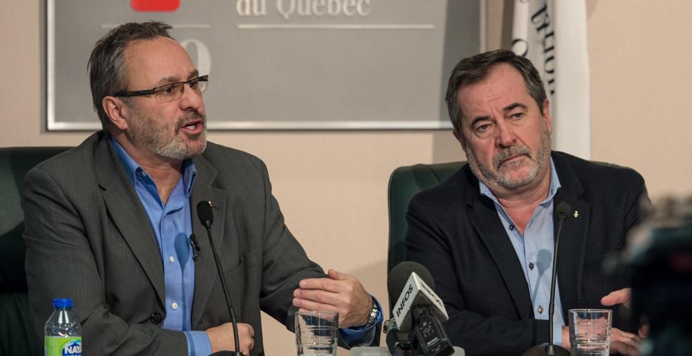 Daniel Boyer et Serge Cadieux en conférence de persse