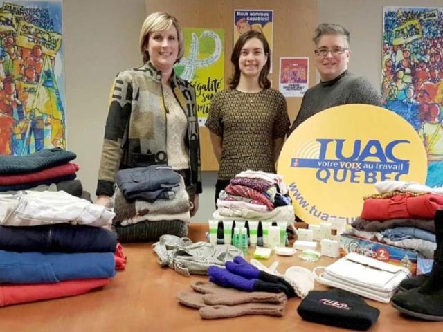Les TUAC Québec ont organisé une grande collecte au profit de l'organisme La rue des Femmes qui offre des soins et des services à des femmes en état d'itinérance.
