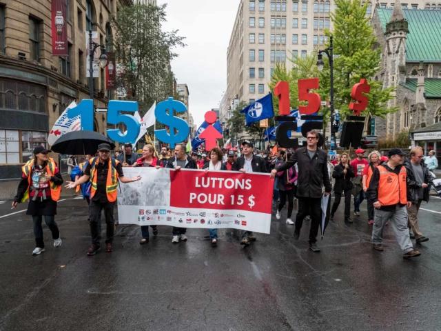 Marche de 15 km pour un salaire minimum à 15$ l'heure