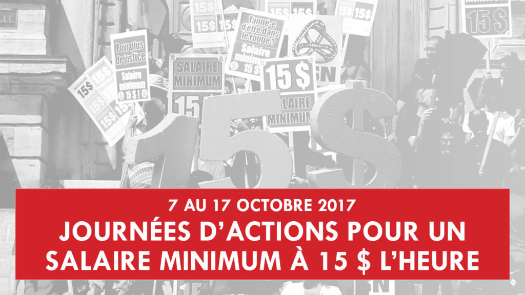 Journées d'actions pour le salaire minimum à 15$ l'heure