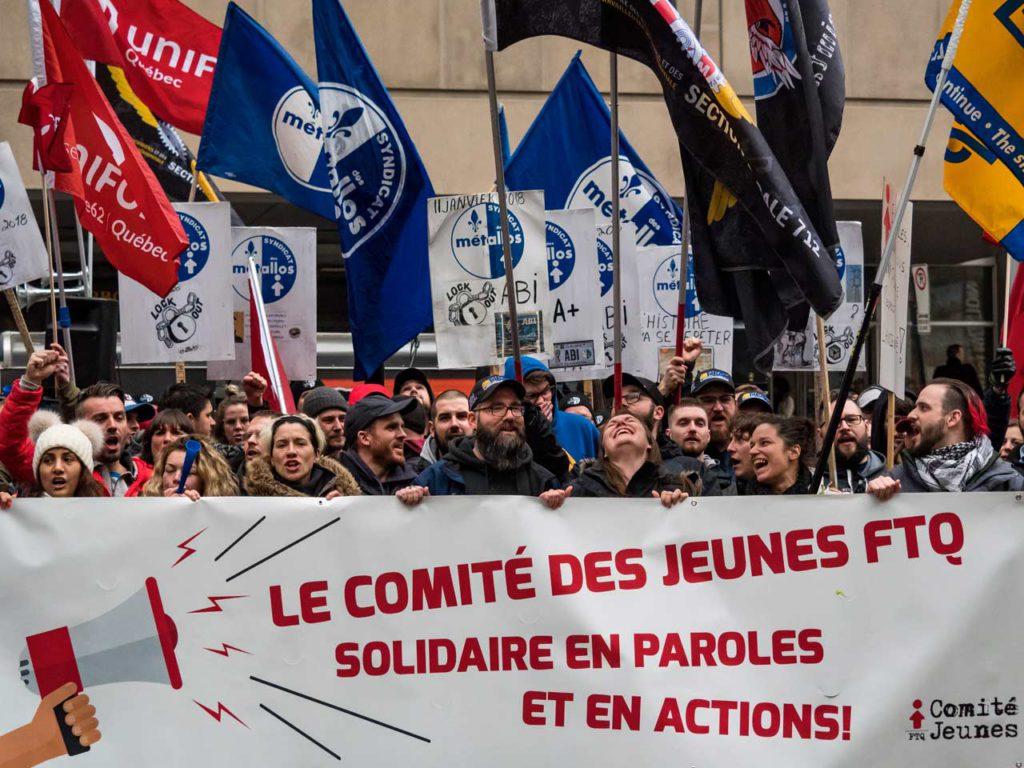Manifestation des jeunes de la FTQ en appui aux travailleurs d'ABI