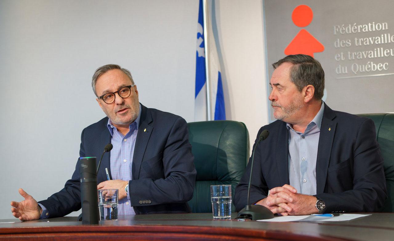 Le président et le secrétaire général de la FTQ, Daniel Boyer et Serge Cadieux