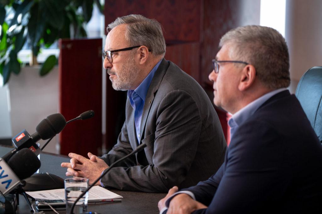 Le président et le secrétaire général de la FTQ, Daniel Boyer et Denis Bolduc