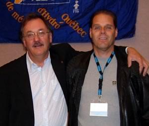 Henri Massé, président de la FTQ et Christian Vincent, membre e la section locale 1500 du SCFP chez Hydro-Québec