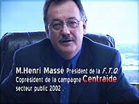Henri Massé copréside la campagne Centraide - secteur public 2002