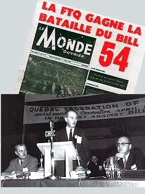 <b>Roger Provost, président de la FTQ; Guy-Merrill Désaulniers, conseiller juridique; Louis Laberge, vice-président de la FTQ.</b>