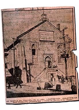 Le Temple du travail, en 1911, rue Saint-Denis, un peu au sud de l'actuel boulevard René-Lévesque