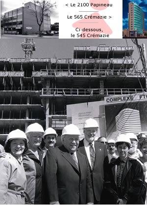 Le chantier du Complexe FTQ, en juin 1992. On y reconnaît plusieurs membres du Bureau de la FTQ de l'époque : Lauraine Vaillancourt (UIOVD), Lucille (la compagne de Louis), l'actuel président de la FTQ, Henri Massé (SCFP), Louis Laberge, Fernand Daoust, Carole Haywood (SEPB) et Marc Bellemare (AFPC) en retrait.