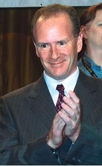 Jérôme Turcq, vice-président au Québec de l'AFPC et vice-président de la FTQ, lors du congrès de son syndicat à Montréal, au printemps 2003