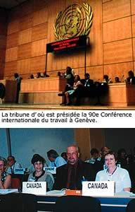 Des membres de la délégation canadienne dont, à l'extrême droite, Carole Gingras de la FTQ, aux côtés de Al Bieksa de la Fédération du travail de l'Ontario.