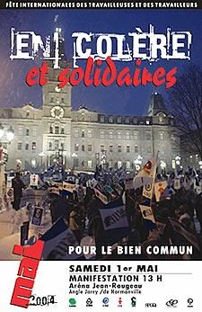 <center><font color=navy><b>Grande manifestation nationale à Montréal 1er mai 2004</font></b> <br> <br>Rassemblement : samedi midi <br>Aréna Jean-Rougeau <br>8000 de Normanville (entre Villeray et Jarry) <br>(Une rue à l'est de Christophe-Colomb) <br>Métro Jarry