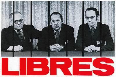 Les trois présidents emprisonnés : Louis Laberge (FTQ), Marcel Pepin (CSN) et Yvon Charbonneau (CEQ)
