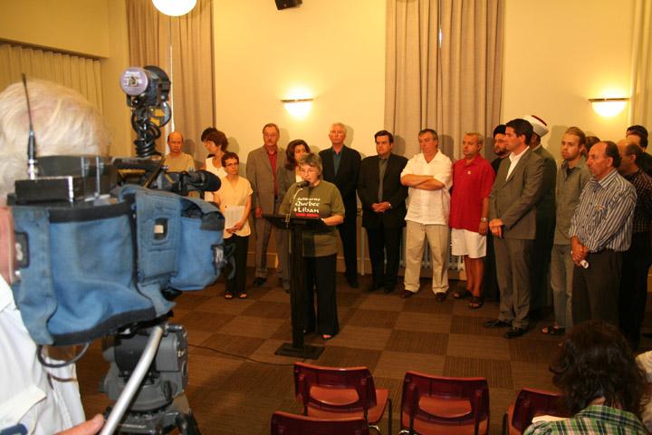 Les participants à la conférence de presse pour la paix au Liban, dont le président de la FTQ, Henri Massé. (photos: FTQ, Jean Laverdière)