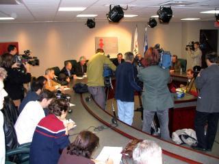 Les médias étaient nombreux à la conférence de presse de la FTQ et du syndicat des cols bleus de Montréal, ce matin à 10h30. Le point de presse a été diffusé en direct sur RDI. <br> <br>Photo Service de l'information SCFP