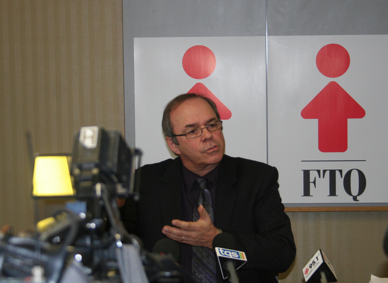 Photo de la conférence de presse de la FTQ.