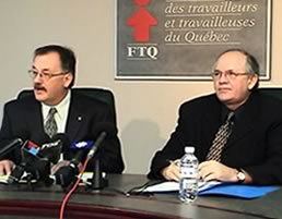 Le président et le secrétaire général de la FTQ, MM. Henri Massé et René Roy<br><br>  <font color=blue>Autres informations</font></b>