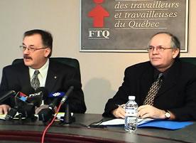 Le président et le secrétaire général de la FTQ, MM. Henri Massé et René Roy