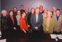 Les représentants et représentantes des syndicats FTQ du secteur public québécois avec Gilles Giguère, coordonnateur des négociations, en avant au centre.